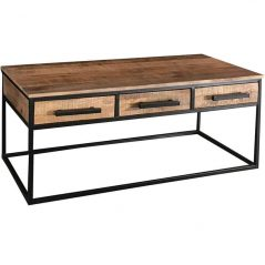 Industrial Style Light Mango Wood 3-drawer Coffee Table