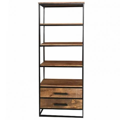 Industrial Style Light Mango Wood 2-drawer Bookcase
