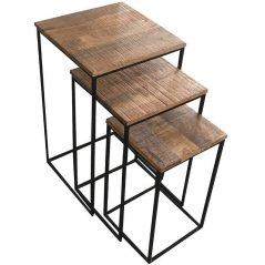 Industrial Style Light Mango Wood Tables (Set of 3)