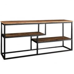 Industrial Style Light Mango Wood Media Unit with a Metal Frame