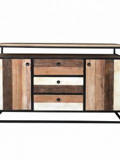 Industrial reclaimed mango wood 2-door 3-drawer sideboard with metal frame/stand.
