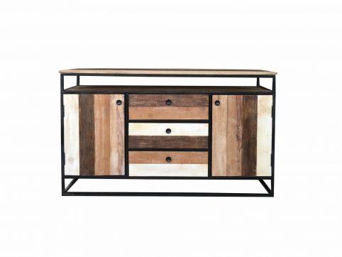 Industrial reclaimed mango wood 2-door 3-drawer sideboard with metal frame/stand.
