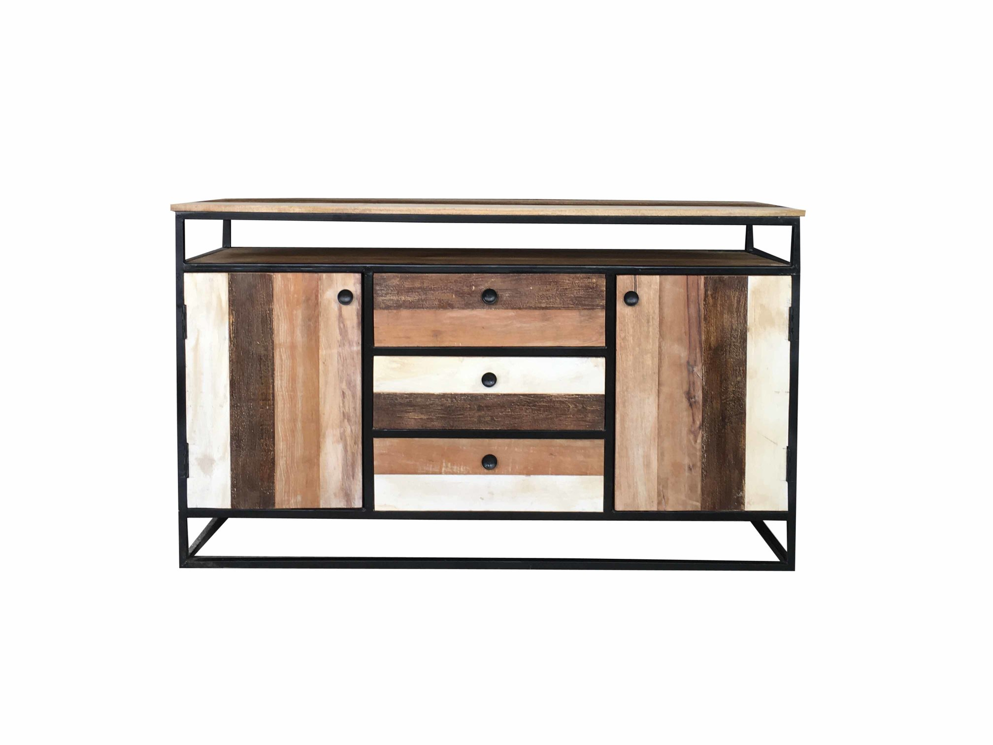 Industrial-reclaimed-mango-wood-2-door-3-drawer-sideboard-with-metal-frame