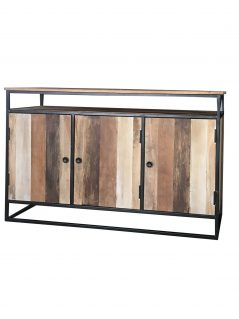 Industrial reclaimed mango wood 3-door sideboard with metal frame /stand.