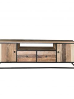 Industrial reclaimed mango wood TV stand with metal legs.