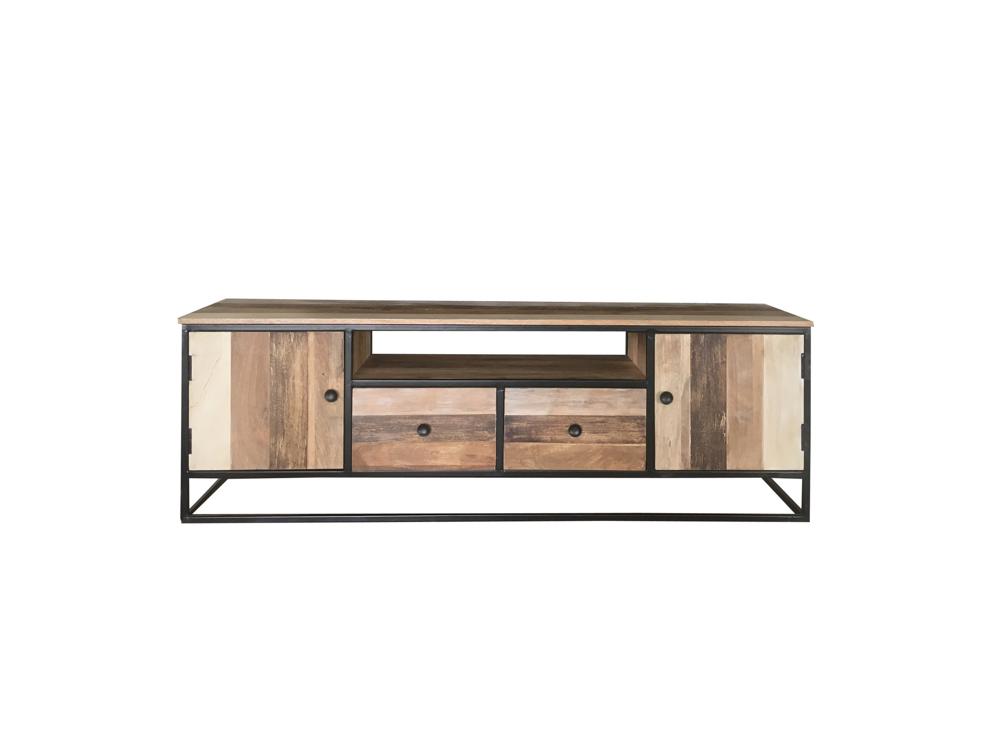 Industrial Style Reclaimed Mango Wood Tv Stand
