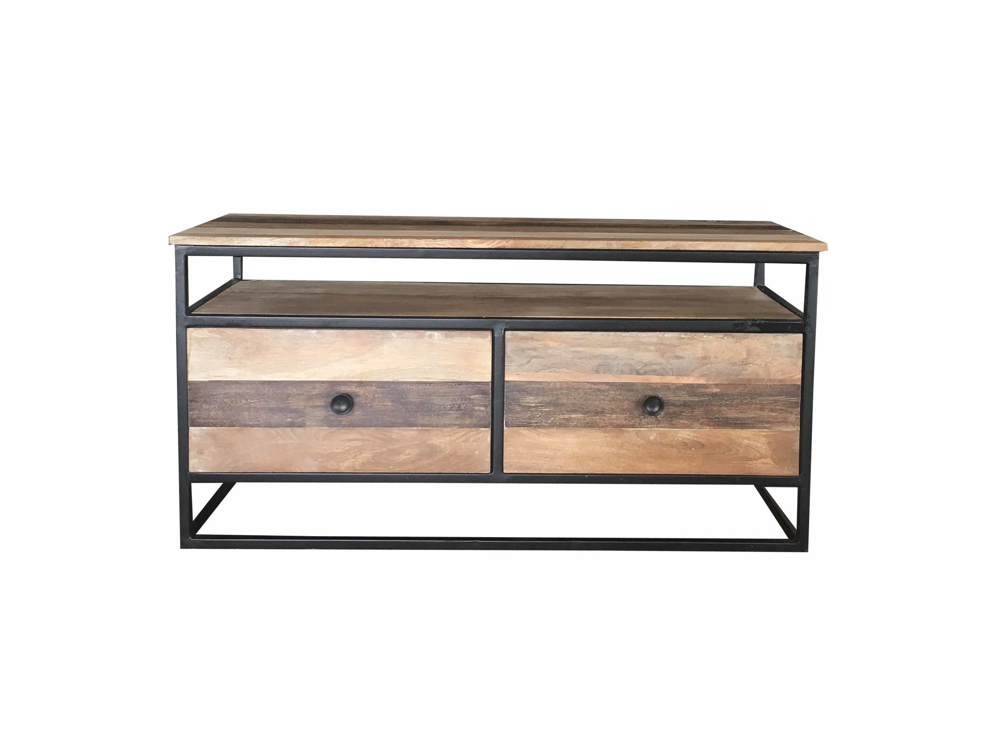 Industrial Reclaimed Mango Wood Tv Stand Media Unit Coffee Table