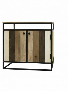 industrial reclaimed mango wood 2 door sideboard with metal frame/stand