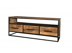 Industrial style 140 cm light mango wood 3-drawer TV stand-media unit with metal frame