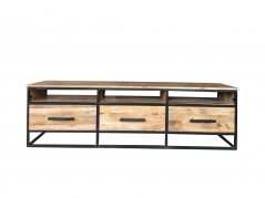 Industrial style 170 cm light mango wood 3-drawer TV stand-media unit with metal frame