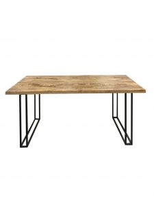 Industrial style large 175 cm light mango wood dining table with meta stand