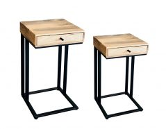 industrial style light mango wood 1 drawer side table with metal frame