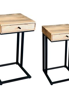 Large and small industrial style light mango wood 1 drawer side table with metal frame