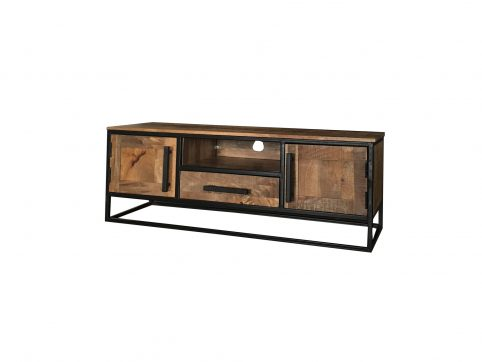 Industrial style light mango wood 2-door 1-drawer low TV stand-media unit with metal frame