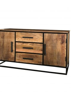 Industrial style light mango wood 2-door 3-drawer sideboard with metal frame