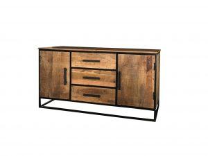 Industrial style light mango wood 2-door 3-drawer sideboard with metal frame