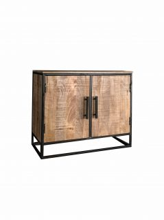 Industrial style light mango wood 2-door sideboard with metal frame