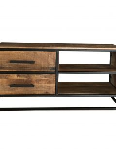 Industrial style light mango wood 2-drawer TV stand-media unit with metal frame