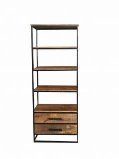 Industrial style light mango wood 2 drawers bookcase with metal frame