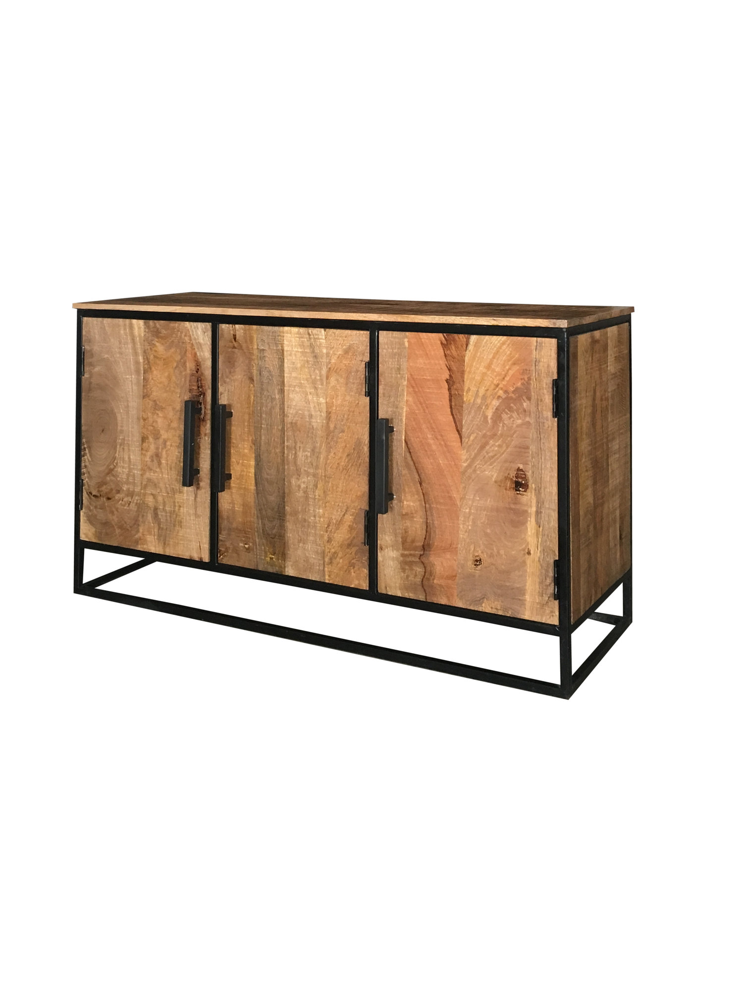 Industrial Style Light Mango Wood 3 Door Sideboard With Metal Frame