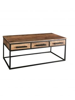 Industrial style light mango wood 3 drawers coffee table with metal frame
