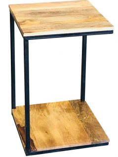 Industrial style light mango wood 3 side mini side table