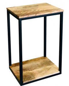 Industrial style light mango wood 4 side mini side table