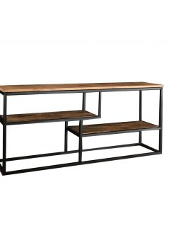 Industrial style light mango wood TV stand-media unit with metal frame
