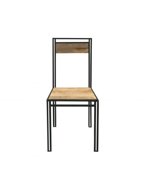Industrial style light mango wood dining chair with metal frame