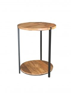 Industrial style light mango wood double round top table
