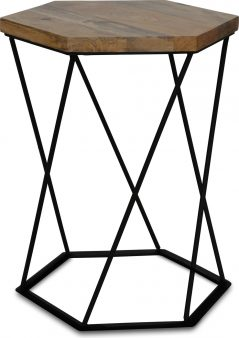 Industrial style light mango wood hexagonal lamp table