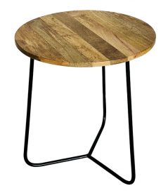 Industrial style light mango wood top side table with metal frame