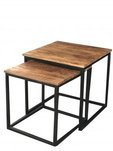 Industrial-style-light-mango-wood-nest-of-2-tables-sawn-finish-with-metal-stand