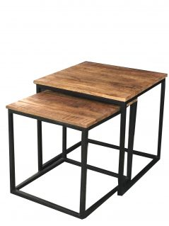 Industrial style light mango wood nest of 2 tables with metal stand