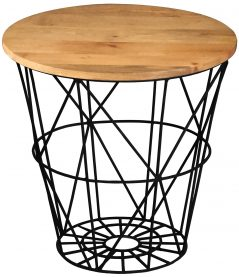 Industrial style light mango wood particular top side table with metal frame