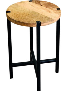 Large industrial style light mango wood plain round stool with metal frame
