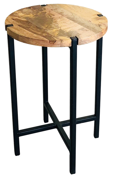 Industrial Style Light Mango Wood Small Round Stool Side Table