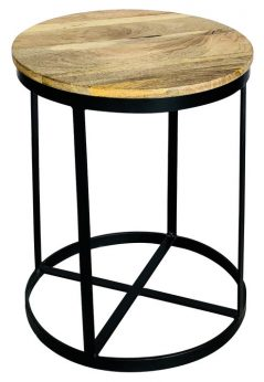Large industrial style light mango wood round stool with metal frame