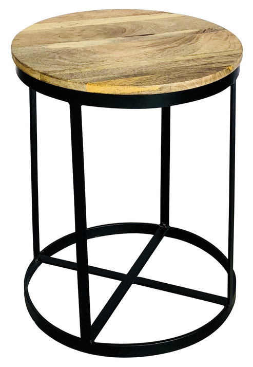 Industrial Style Light Mango Wood Round Side Table With A