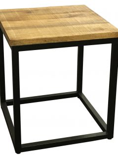 Industrial style light mango wood side table with metal stand