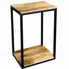 Industrial Style Light Mango Wood Small Side Table