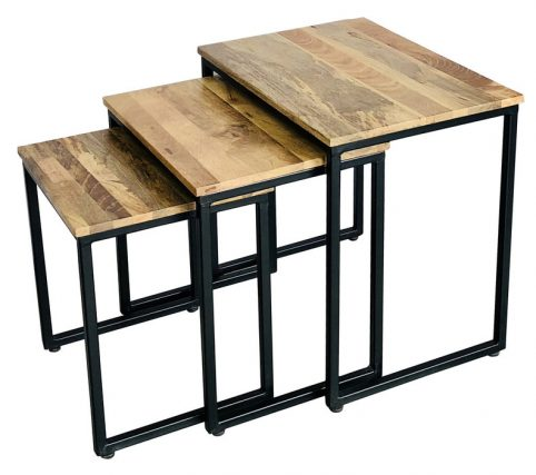 Industrial style light mango wood stool set 3 pcs with metal frame