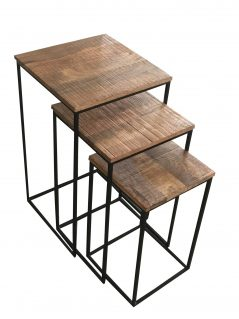 Industrial style light mango wood stool set 3-pcs with metal stand