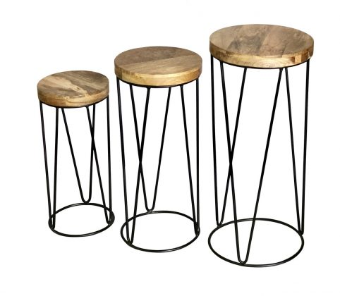 Industrial style light mango wood top round stool set of 3 pcs with metal frame