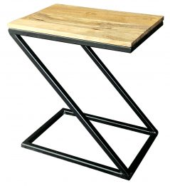 Industrial style light mango wood z shape side table with metal frame
