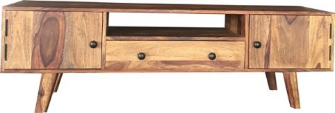 two tone sheesham wood TV stand with 2 doors