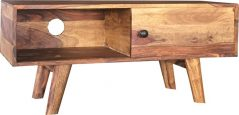 small sheesham wood two tone TV stand with sliding door