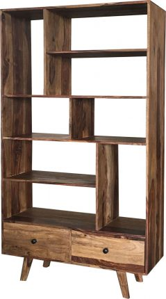 Two-tone Sheesham Wood Bookcase 2-drawer 8-shelf