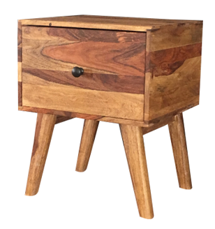Two tone sheesham wood 1-drawer side table
