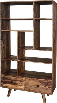Two tone sheesham wood bookcase 2-drawer 9-shelf room divider